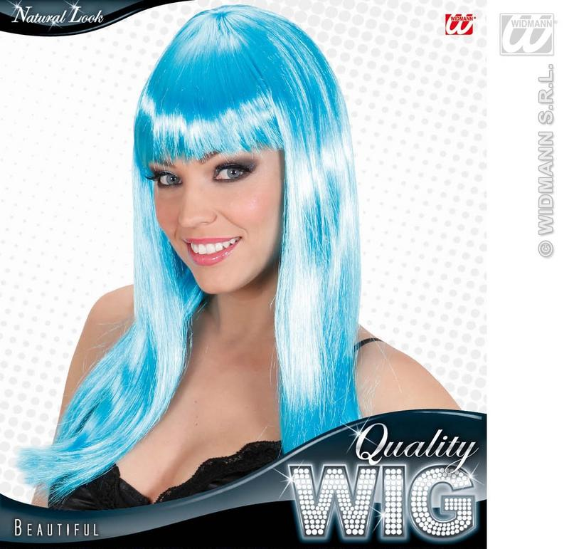 Ladies Long Azure Blue Wig With Fringe Beautiful Diva Lady Gaga Style Fancy Dres