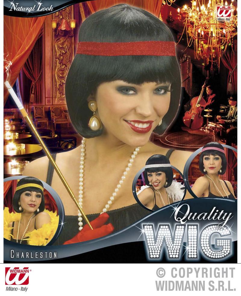 Ladies Black Bob Wig With Red Headband Flapper 1920'S Fancy Dress