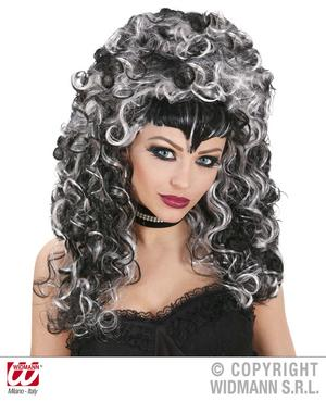 Black & Grey Ladies Vampire Wig Goth Gothic Halloween Fancy Dress