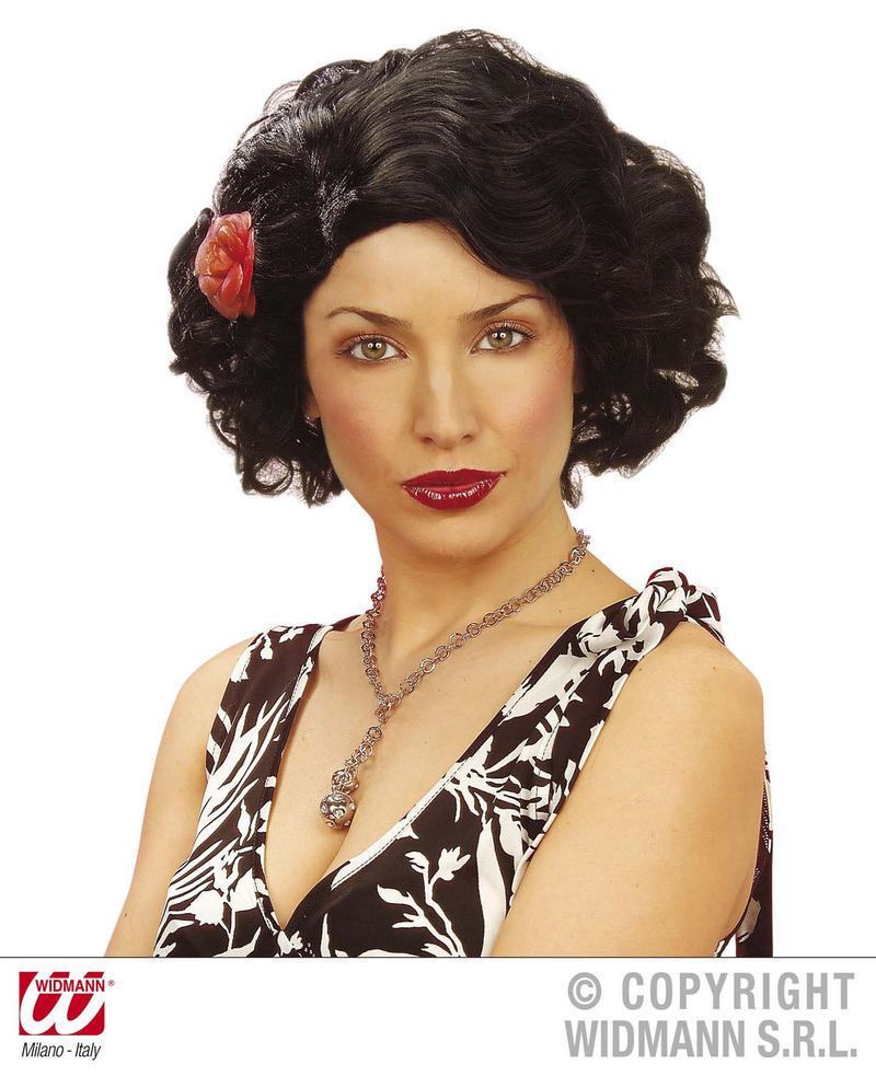Ladies Short Black Wig With Flower Stepford Wives Celebrity Fancy Dress
