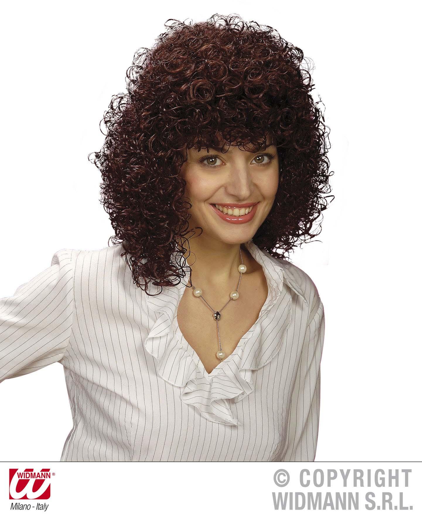 Ladies Brown Curly Perm Wig Poodle Hair 70 S Fancy Dress