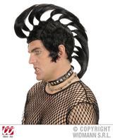 Black & White Mohican Wig Punk Mohawk Rocker Fancy Dress