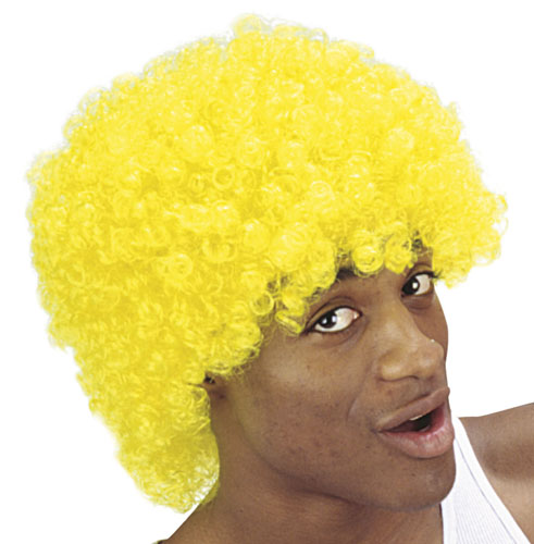 Bright Yellow Afro Wig Clown 70S 80S Retro School Disco Fancy Dress