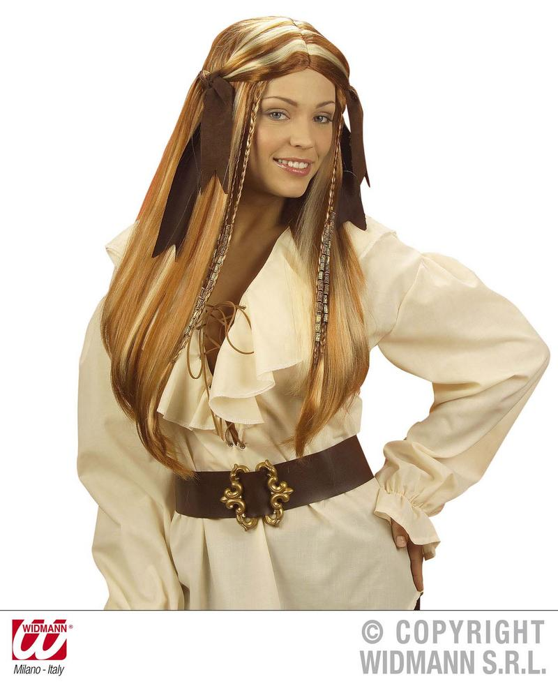 Ladies Pirates Of The Caribbean Wig With Faux Suede Bandana Wench Fancy Dress