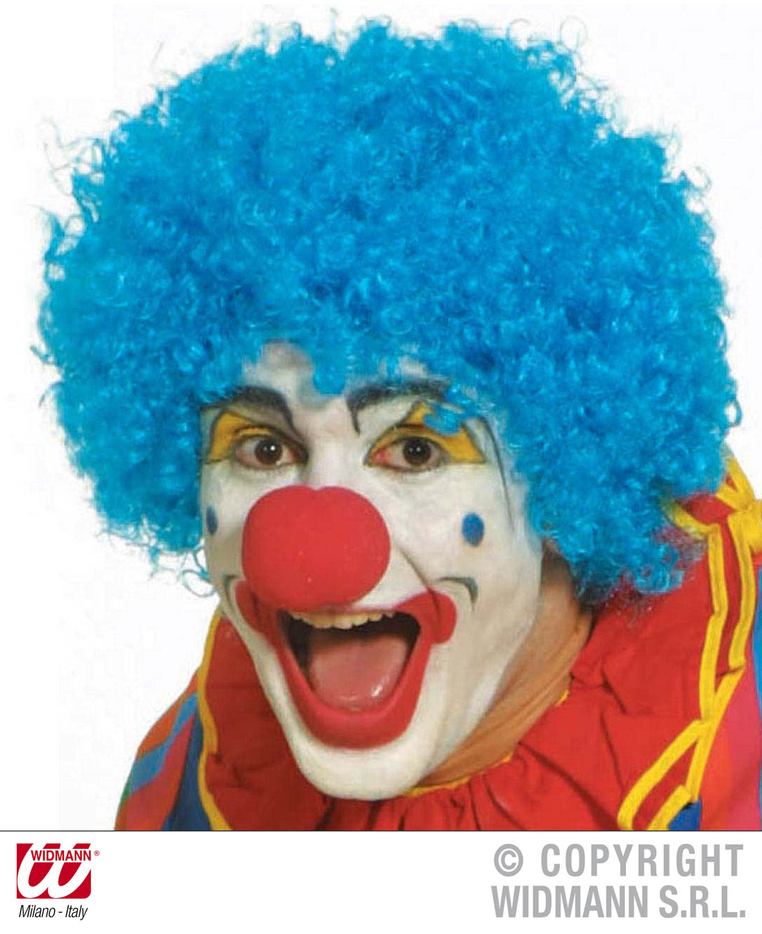 Small Tight Curl Blue Afro Wig Clown Joke Circus Fancy Dress