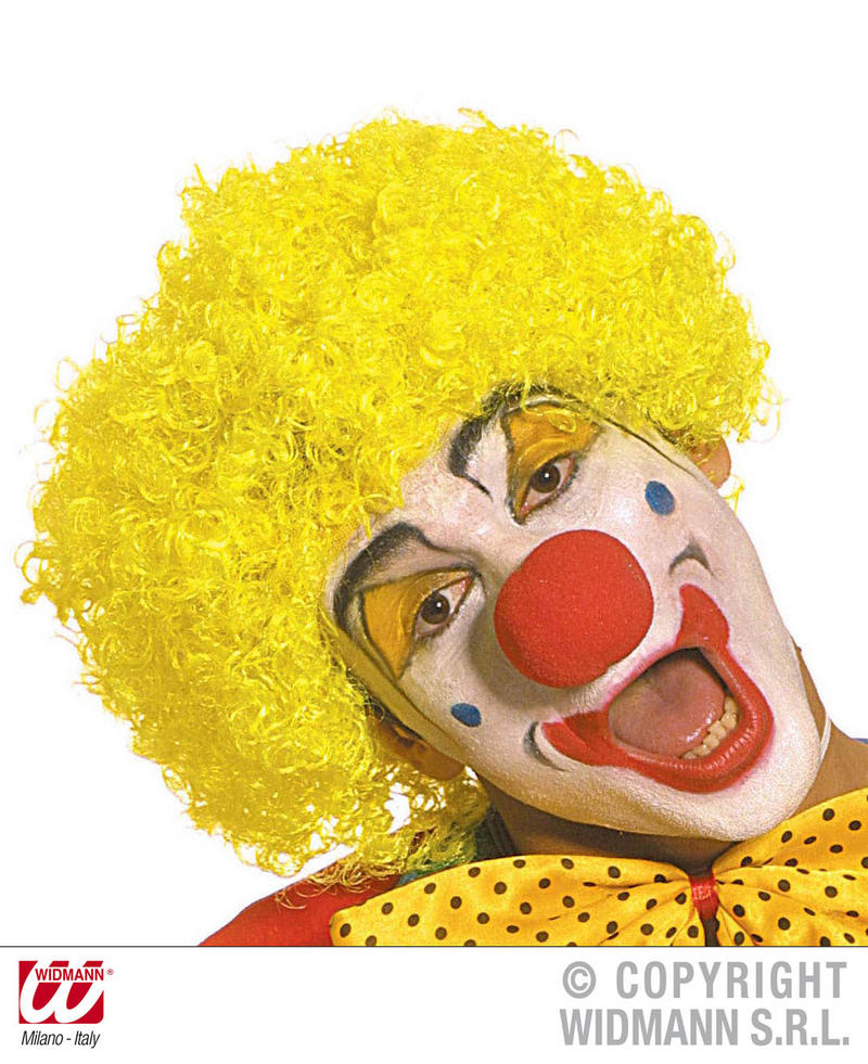 Small Tight Curl Yellow Afro Wig Clown Joke Circus Fancy Dress