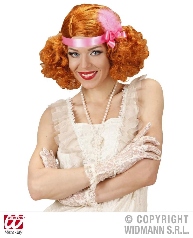 Red Curly Wig With Headband And Feather 1920 Charleston Burlesque Fancy Dress
