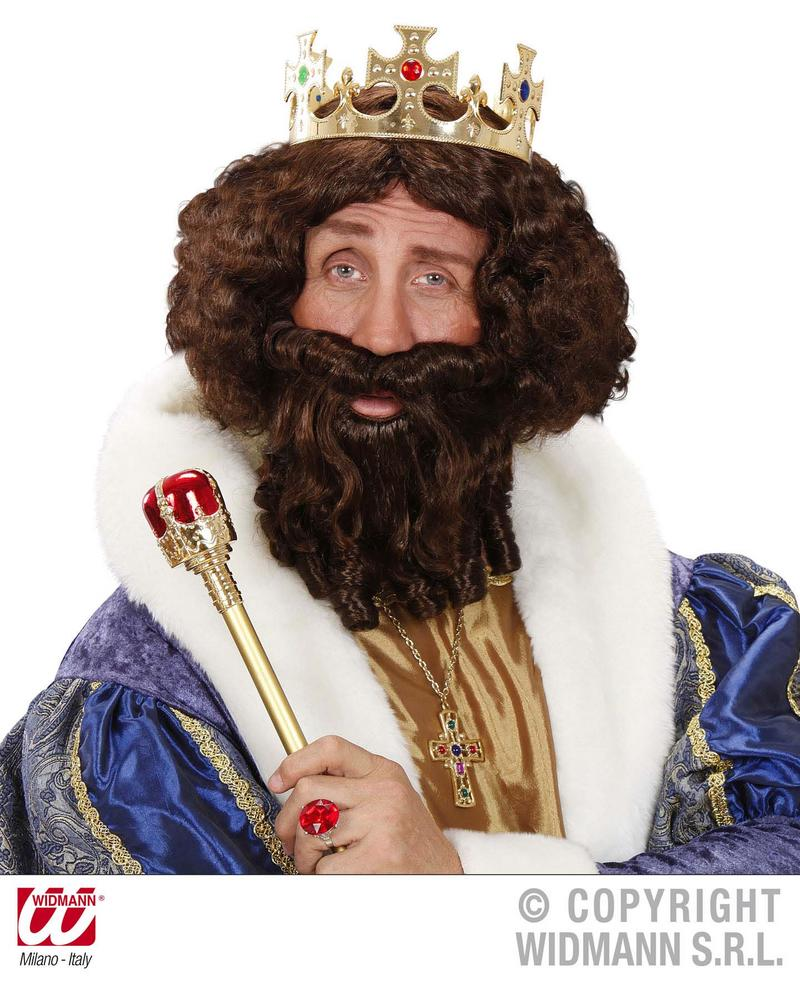 Brown Curly Wig With Beard Old King Royal Caveman Fancy Dress