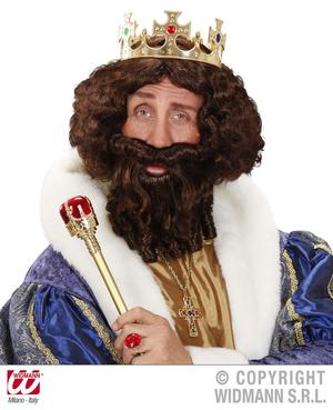 Blonde Curly Wig With Beard King Prince Emperor Fancy Dress