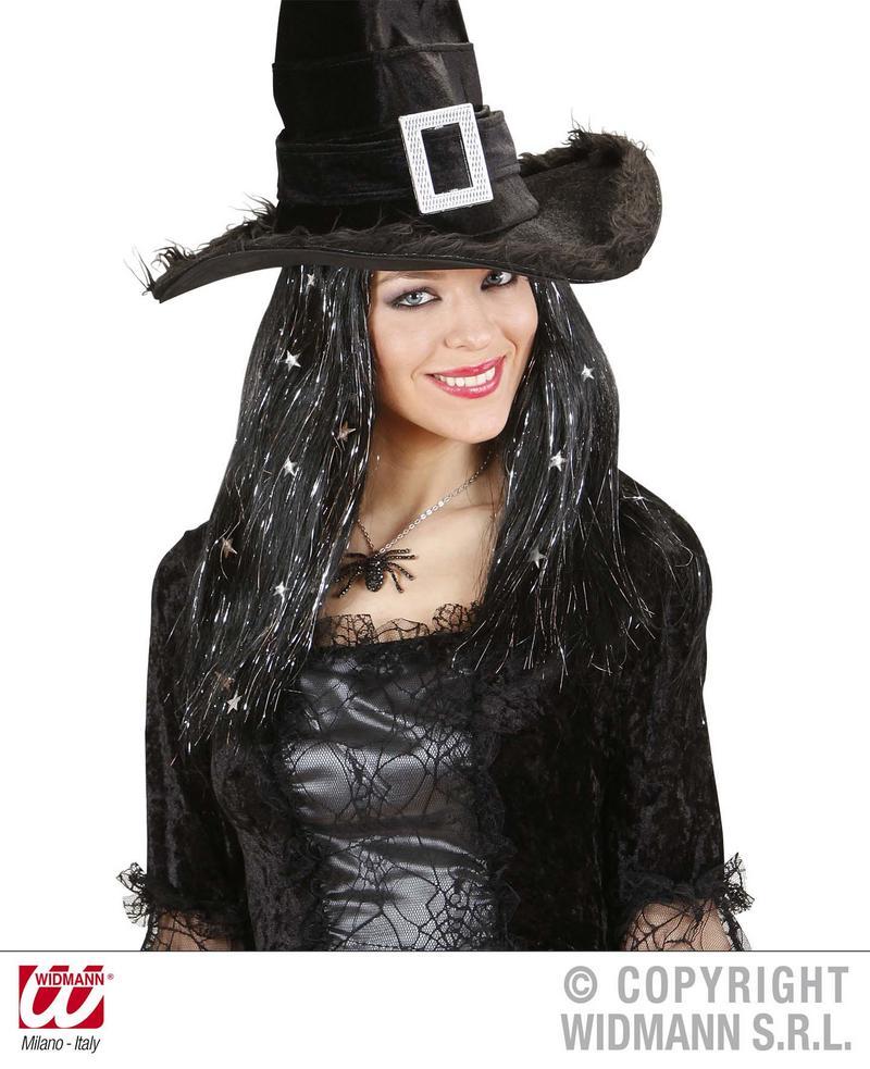 Black Wig With Silver Tinsel & Stars Witch Black Widow Halloween Fancy Dress