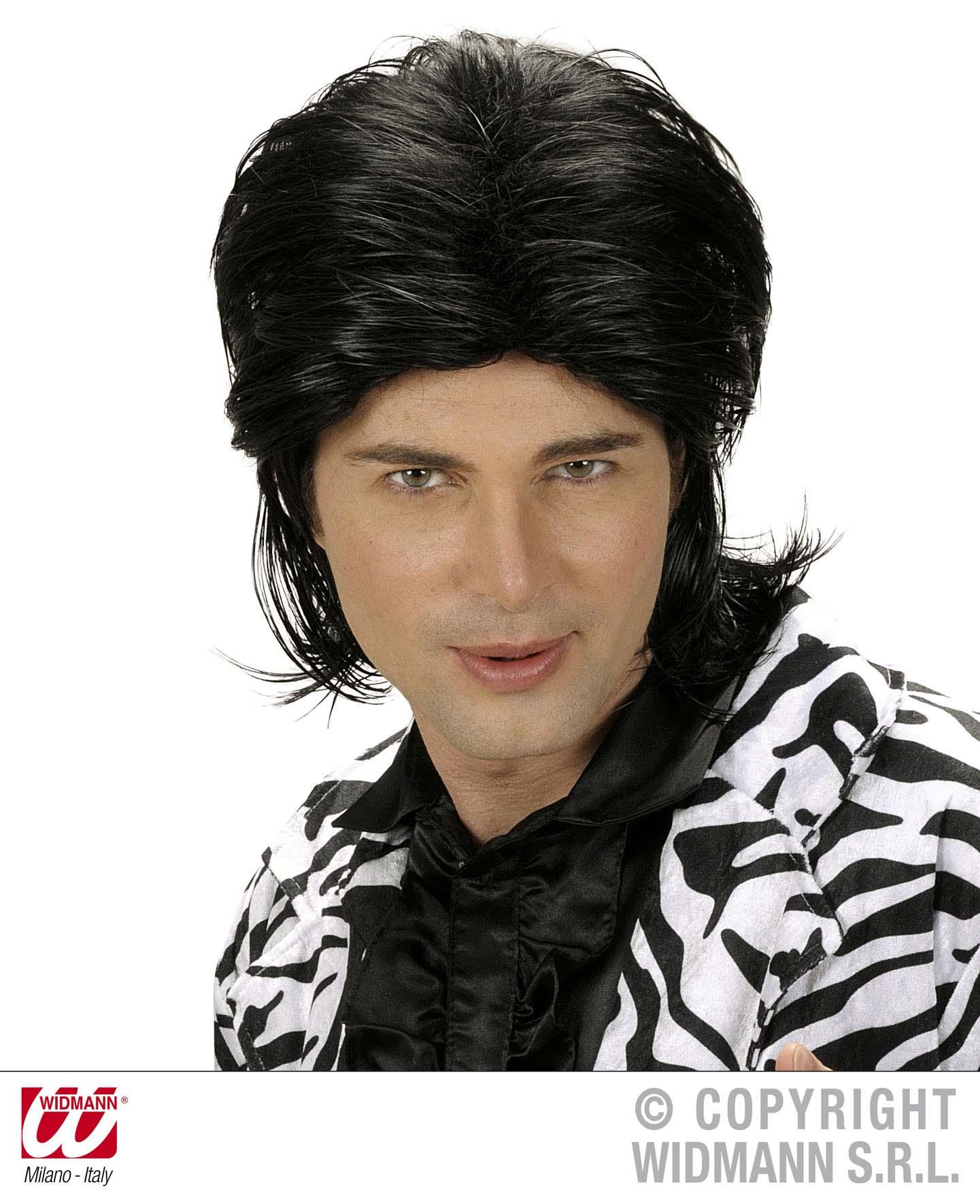 Black Wet Look Wig Male Fashion Model Glamour Fancy Dress