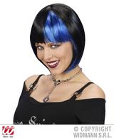 Black Blue Bob Wig Funky Raver Gothic Emo Halloween Fancy Dress