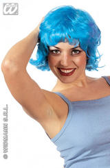 Blue Flicked Bob Wig Funky Emo Raver Gothic Festival Party Fancy Dress