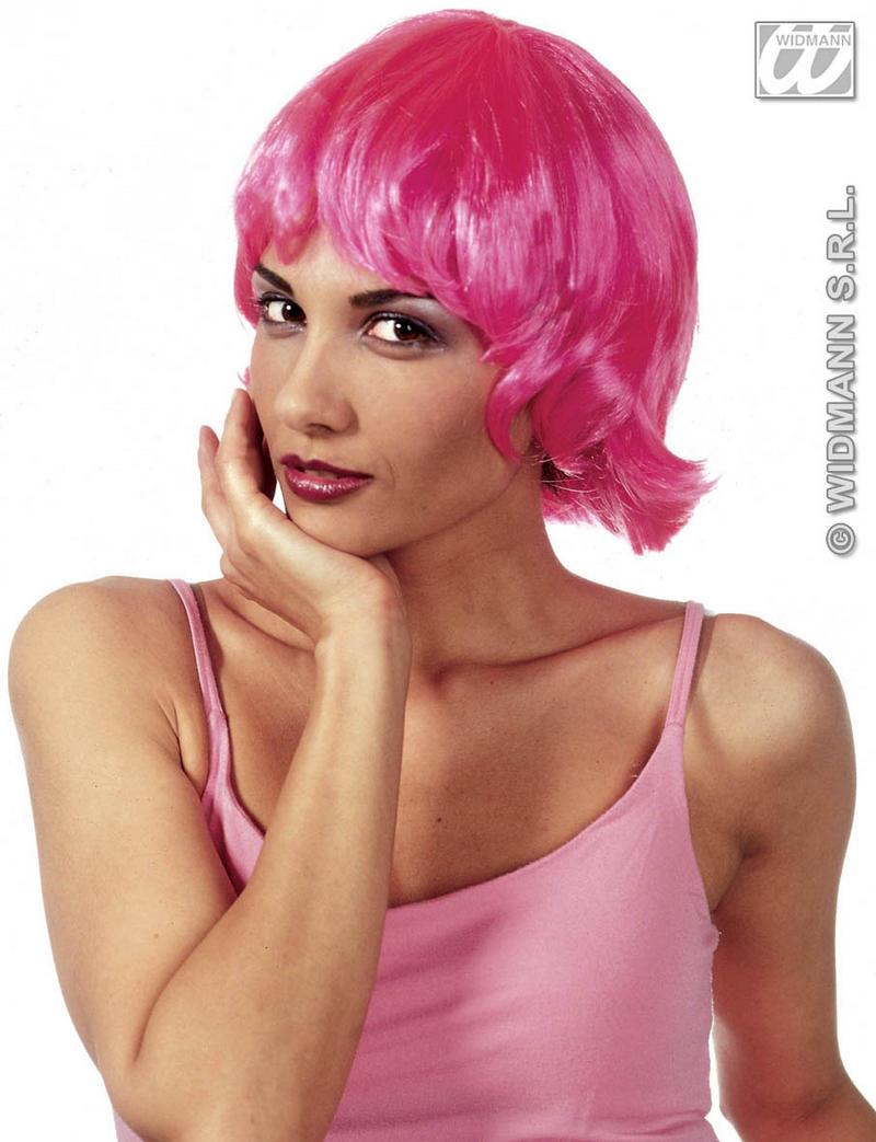Pink Flicked Bob Wig Funky Emo Raver Gothic Festival Mod Fancy Dress