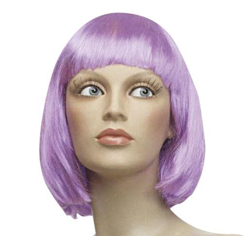 Ladies Purple Short Bob Wig Cheerleader Fancy Dress