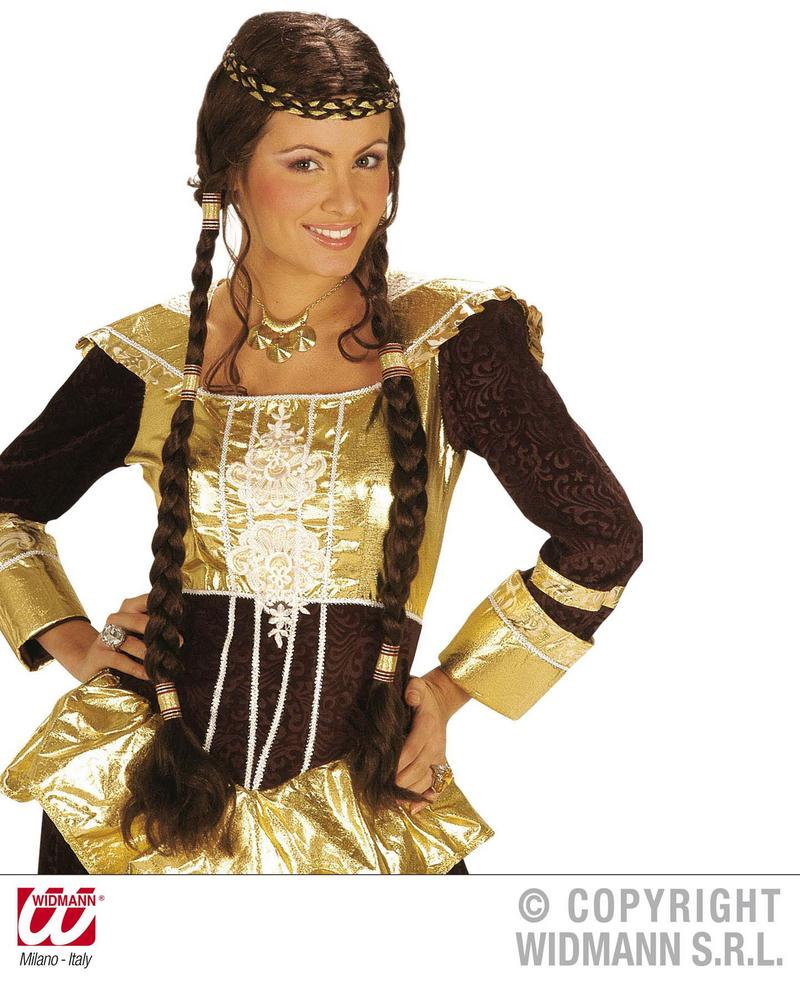 Ladies Long Brown Wig With Plaits Regal Wench Princess Fancy Dress