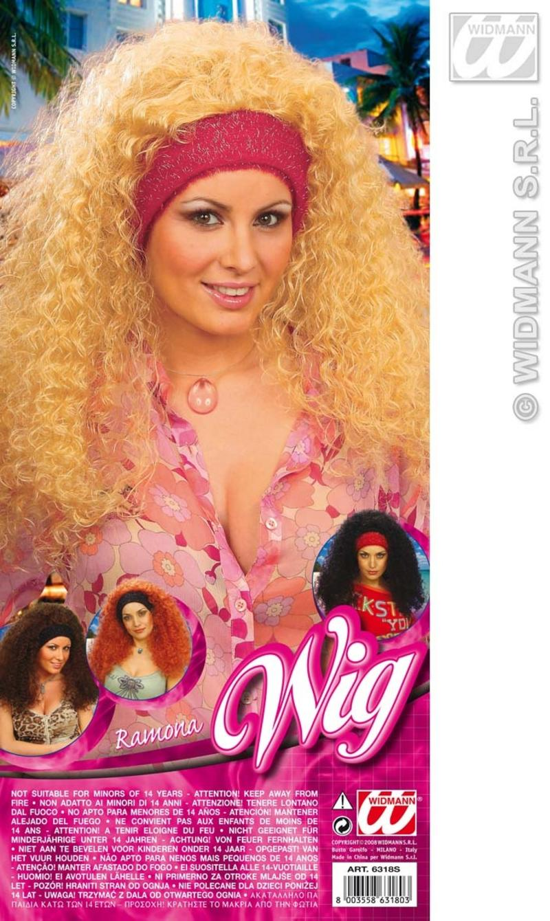 Ladies Long Blonde Perm Wig 70'S Disco Diva Big Hair Fancy Dress