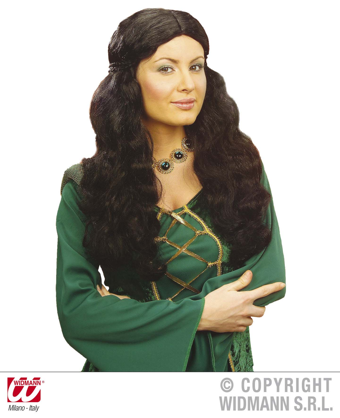 Ladies Long Black Wig Medieval Wench Maid Marion Fancy Dress