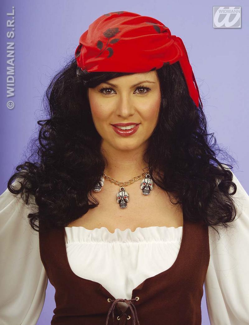 Black Pirate Wench Wig With Bandana Pirates Party Fancy Dress