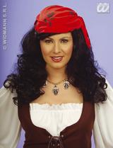 Black Pirate Wench Wig With Bandana Pirates Party Fancy Dress