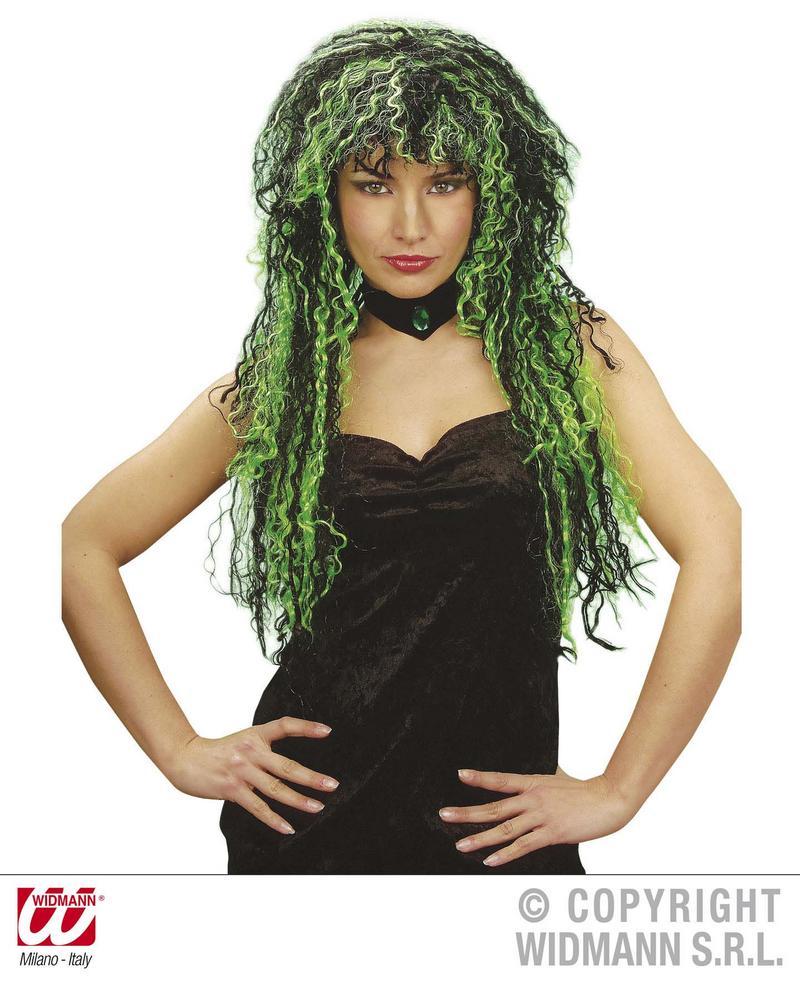 Ladies Long Black Green Wig Nu Rave Raver Goth Emo Halloween Fancy Dress