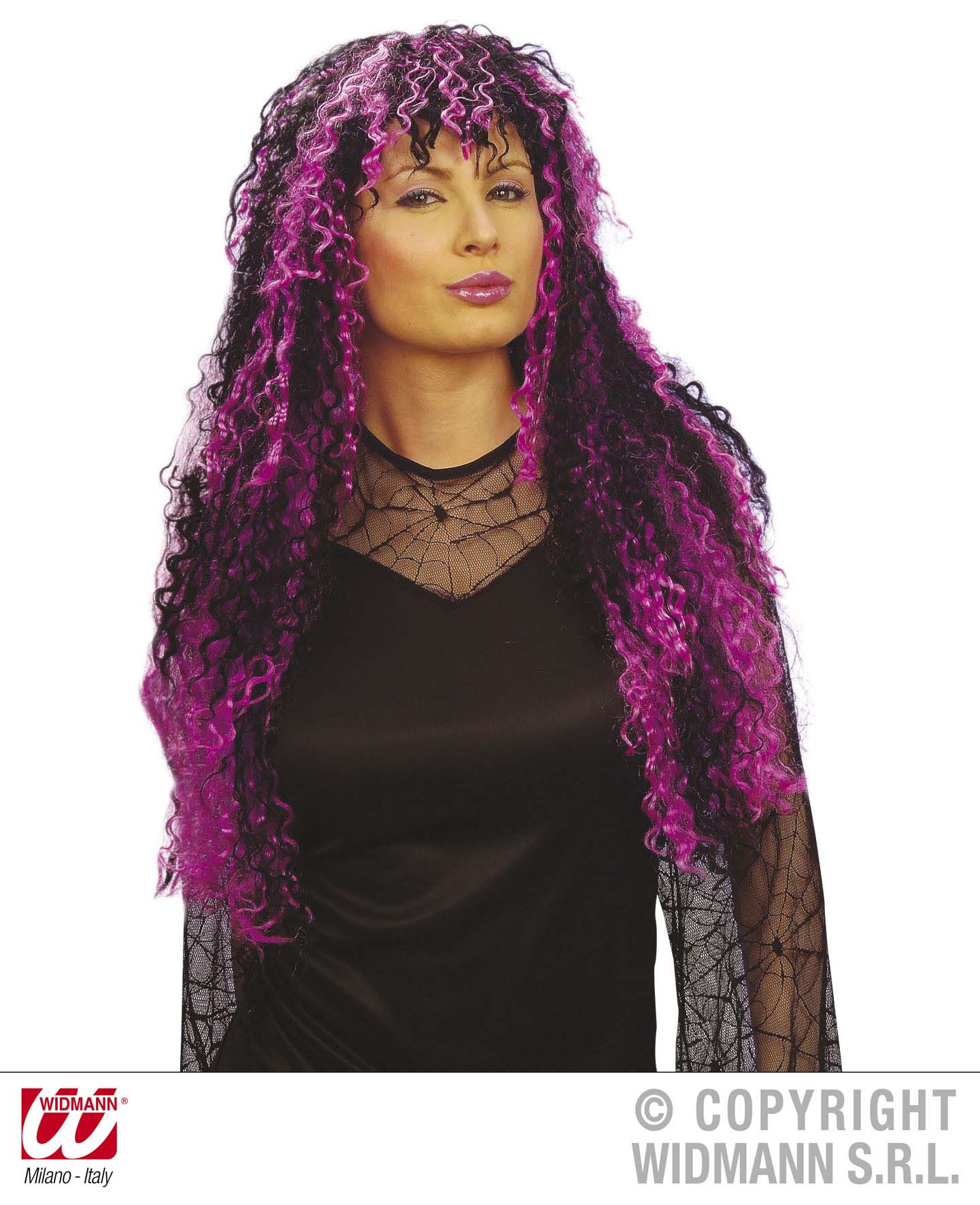 Ladies Long Black Pink Wig Nu Rave Raver Goth Emo Halloween Fancy Dress