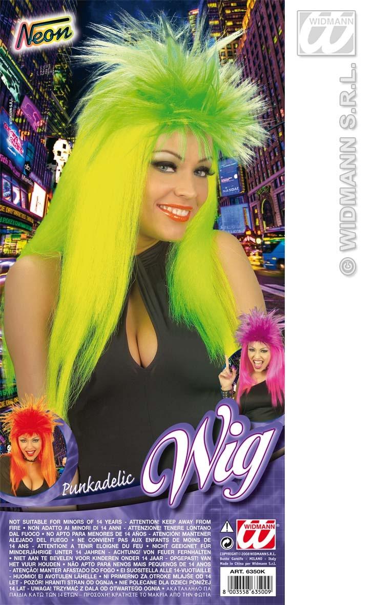 Ladies Neon Green Punk Wig Nu Rave Rocker Tina Turner Fancy Dress