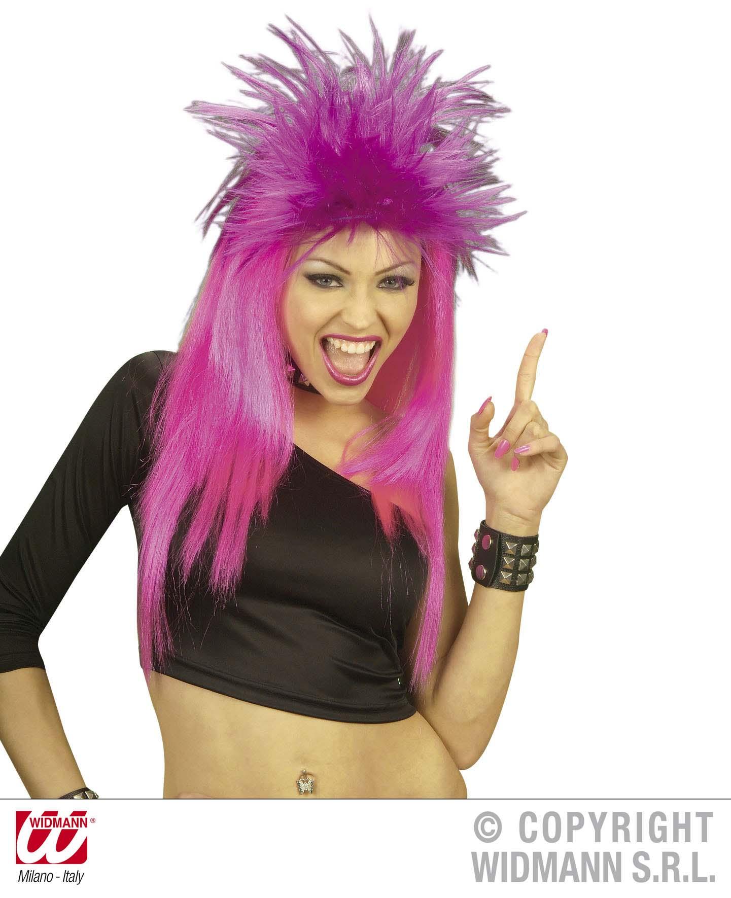 Ladies Neon Orange Punk Wig Nu Rave Rocker Tina Turner Fancy Dress