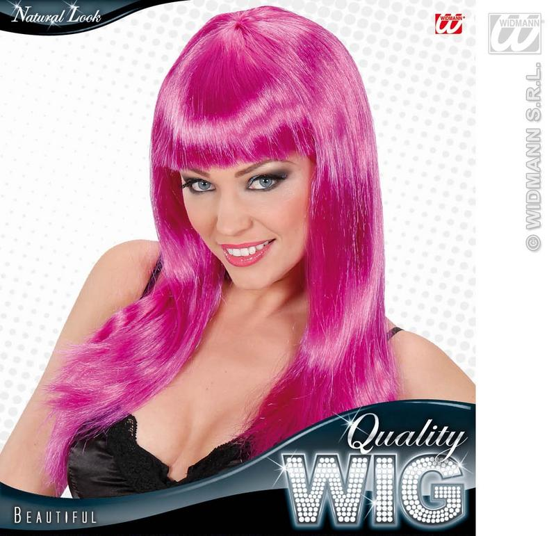 Long Purple Wig With Fringe Celebrity Lady Gaga Disco Diva Fancy Dress