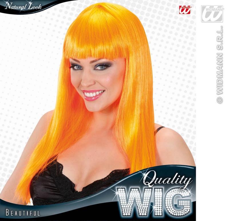 Long Orange Wig With Fringe Celebrity Lady Gaga Disco Diva Fancy Dress
