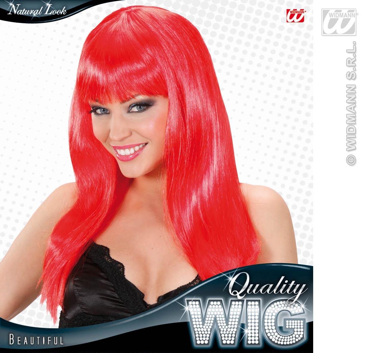 Long Red Wig With Fringe Celebrity Lady Gaga Disco Diva Fancy Dress