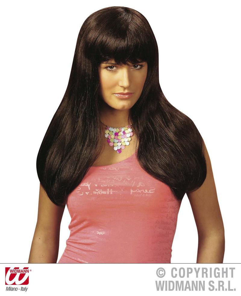 Long Brown Wig With Fringe Towie Essex Pop Star Model Fancy Dress