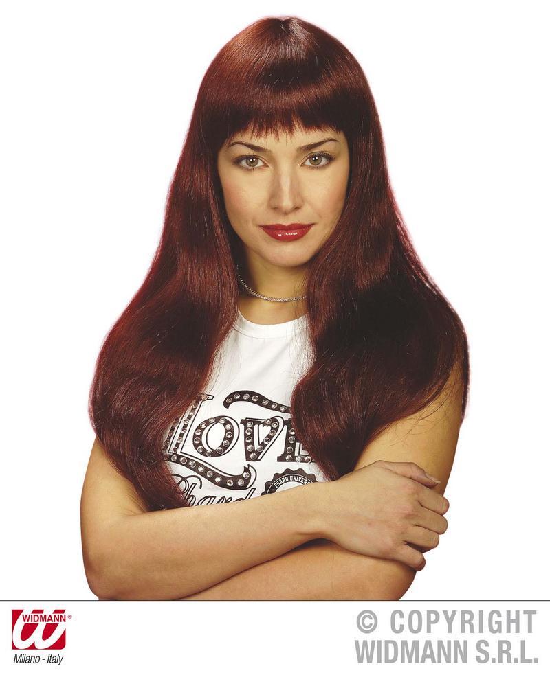 Long Red Wig With Fringe Towie Essex Pop Star Model Fancy Dress