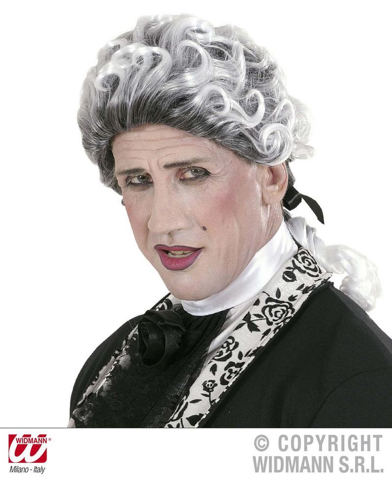 White & Grey Gothic Court Wig Scarlet Pimpernell Tudor Halloween Fancy Dress