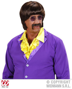 60'S Disco Man Brown Wig & Moustache Cop Hippy John Lennon Fancy Dress