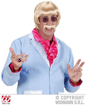 60'S Disco Man Blonde Wig & Moustache Cop Hippy Keith Lemon Fancy Dress