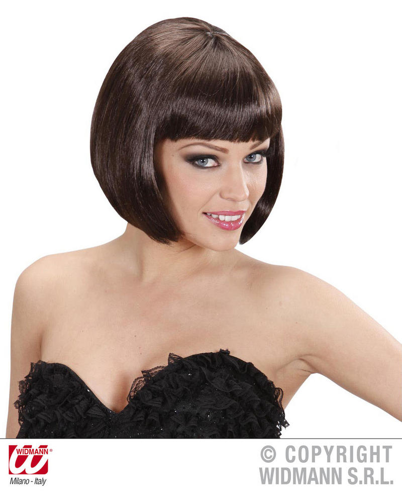 Ladies Deluxe Short Brown Bob Wig Sexy Secretary Flapper Fancy Dress