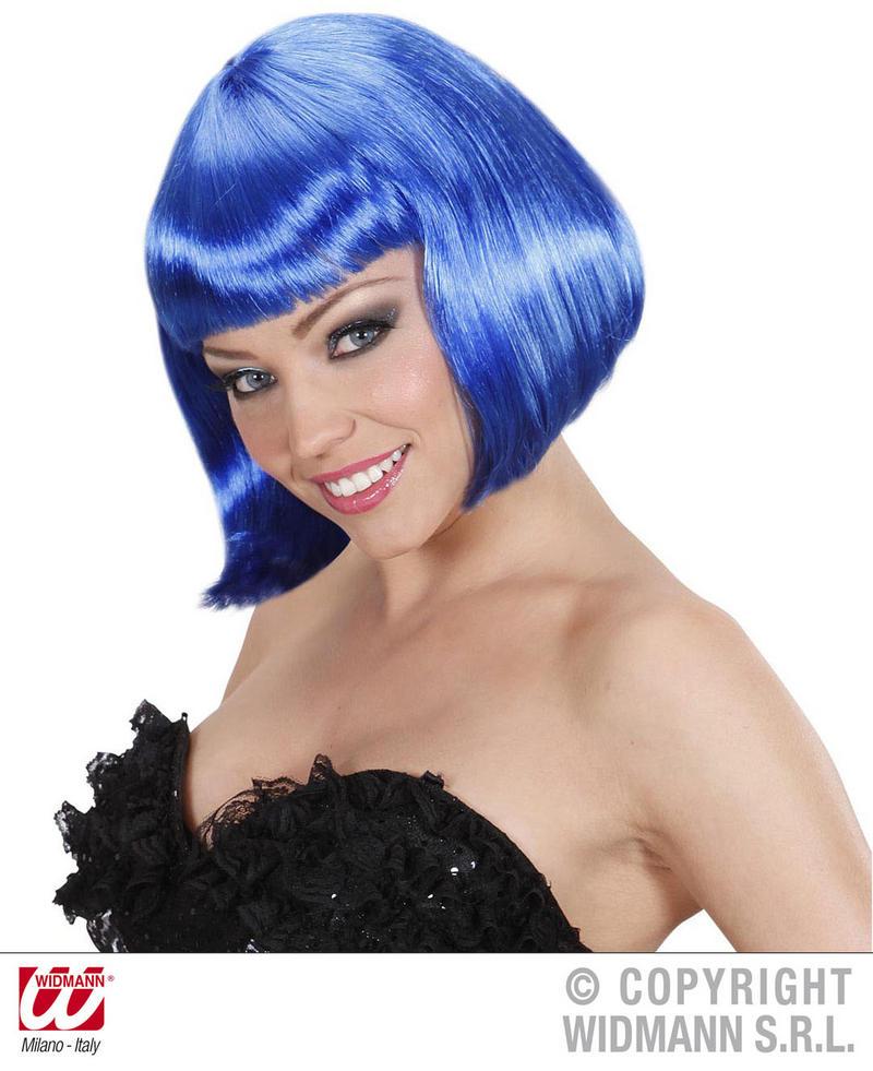 Ladies Deluxe Mignight Blue Bob Wig Sexy Secretary Lady Gaga Fancy Dress