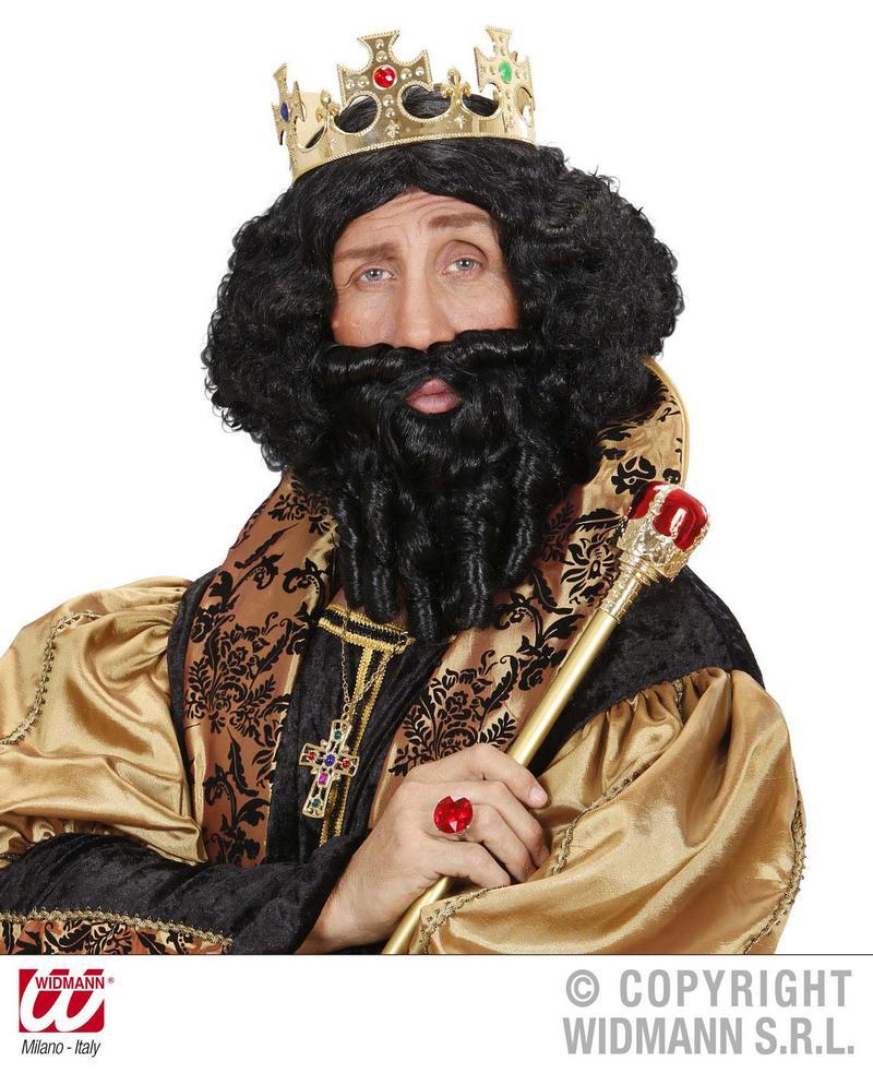 Black Curly Wig And Beard Caveman Hargrid Fancy Dress