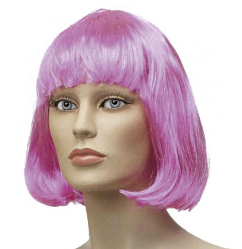 Ladies Short Pink Bob Wig With Fringe Lady Gaga Fancy Dress