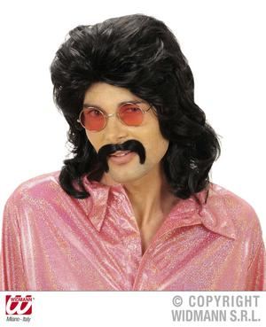Black 70'S Mullet Wig & Moustache Fancy Dress Set Starsky & Hutch Cop
