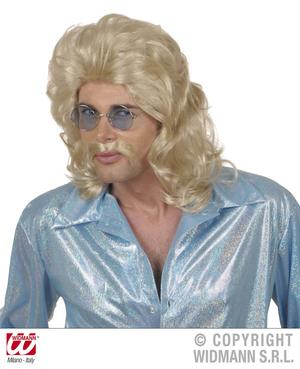 Blonde 70'S Mullet Wig & Moustache Fancy Dress Set Starsky & Hutch Cop