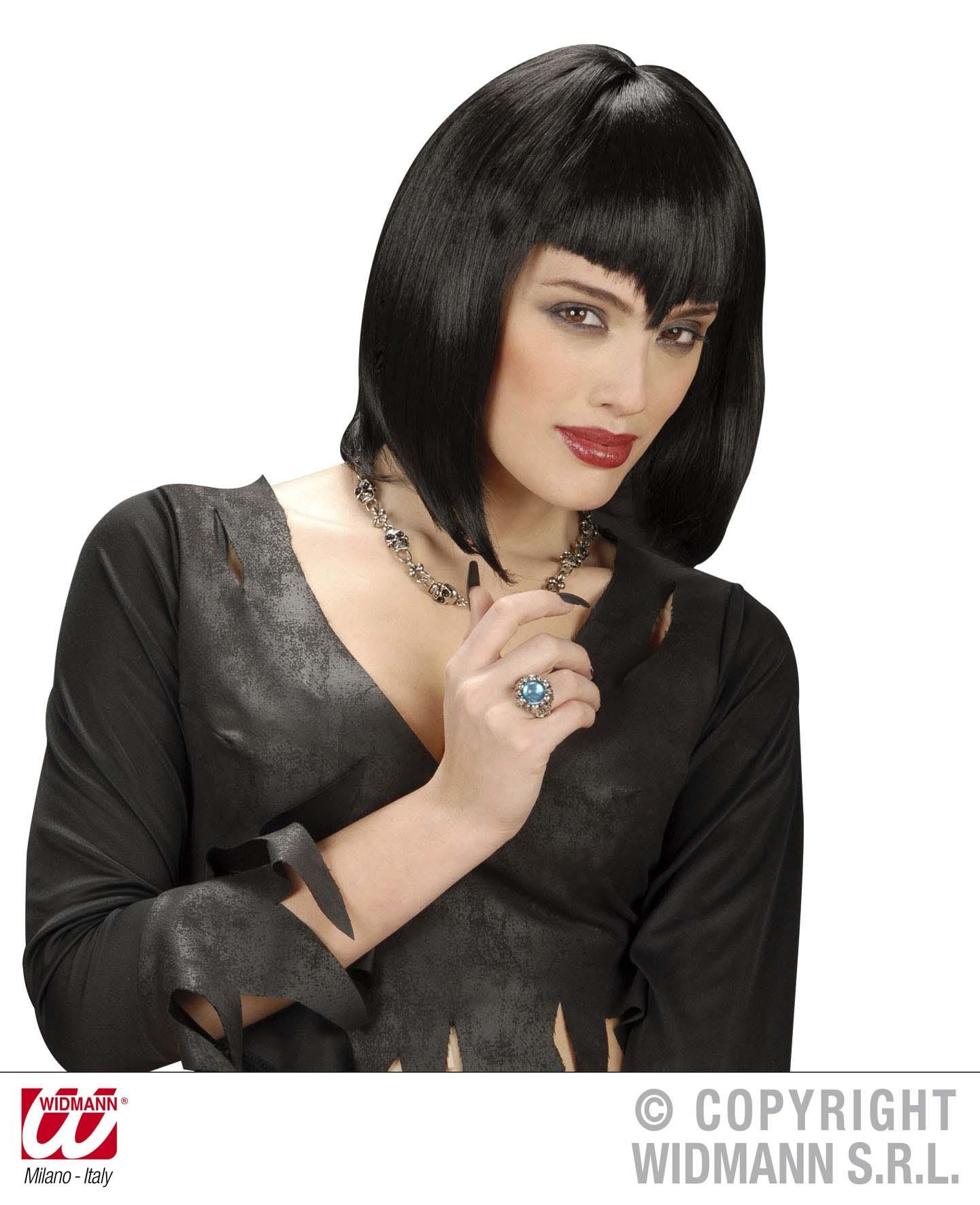 Black Vampire Wig Vampiress Dracula Gothic Emo Halloween Fancy Dress