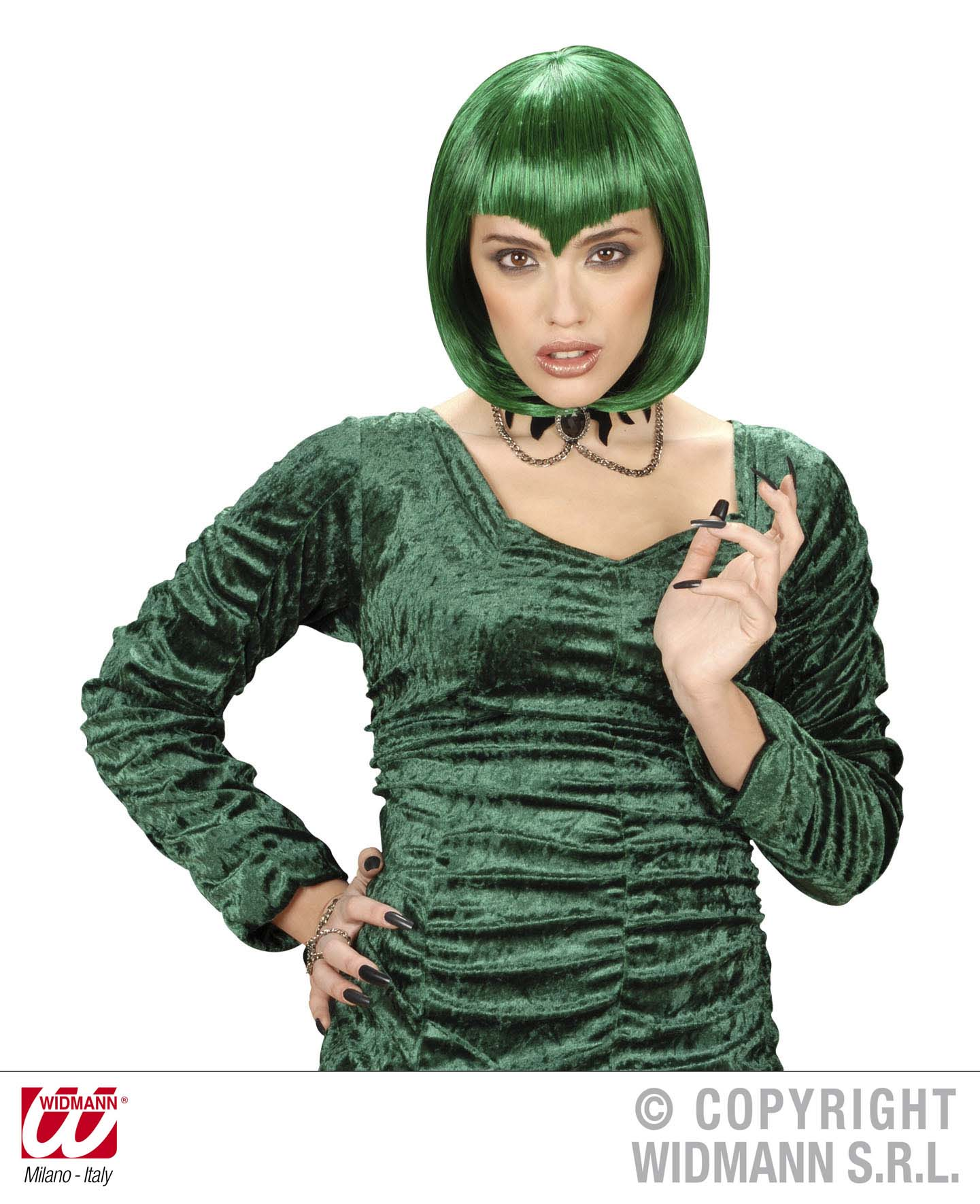 Green Pointy Fringe Wig Vampiress Gothic Emo Monster Halloween Fancy Dress