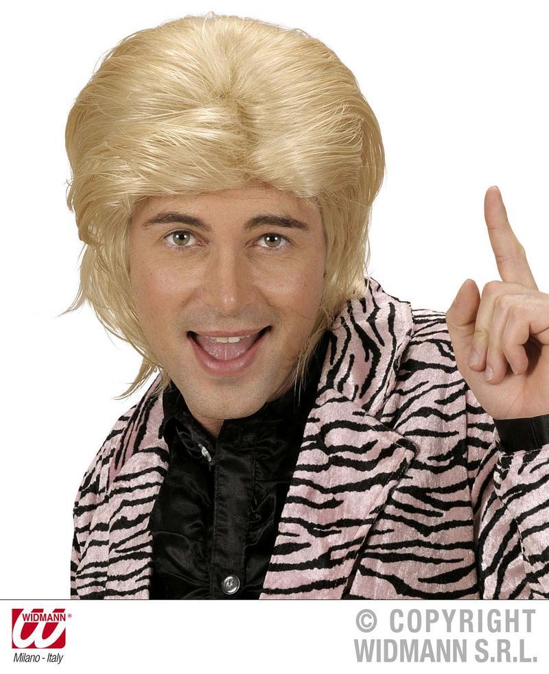Blonde Wet Look Male Wig Pop Star Male Model 1980S Fancy Dress