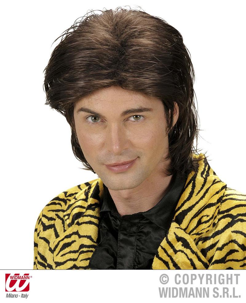 Brown Wet Look Male Wig Pop Star Male Model 1980S Fancy Dress