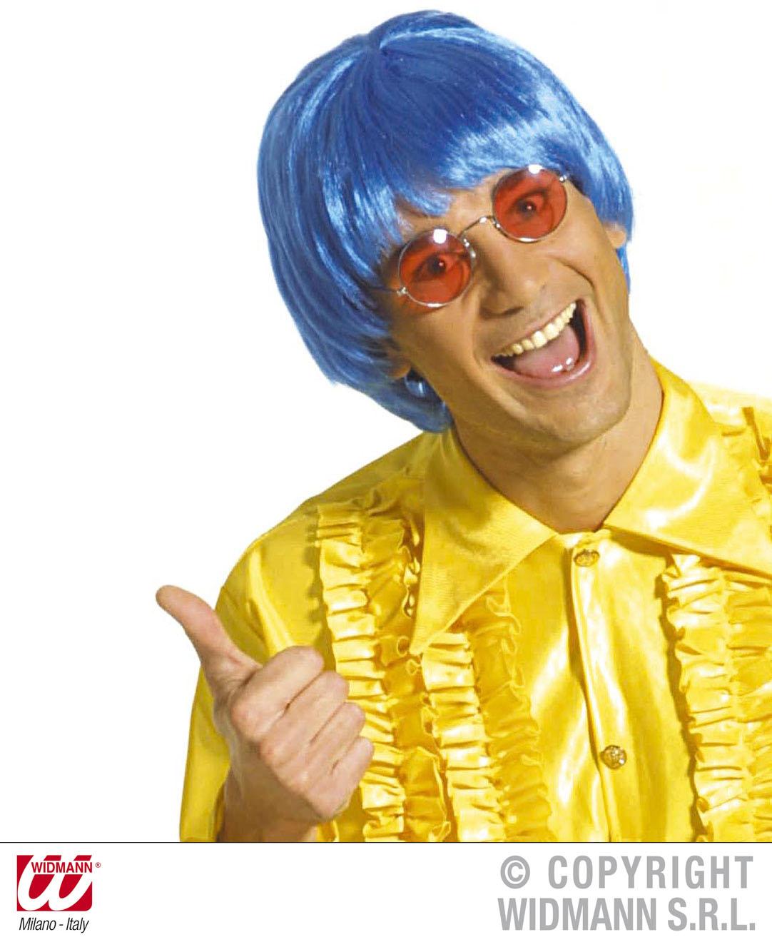 Short Neon Blue Wig Unisex Hippy 70's Austin powers Fancy Dress