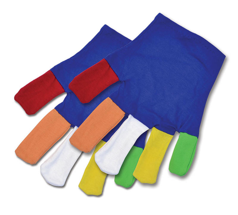 Gloves With Multi Colour Fingers Clown Circus Act Halloween Fancy Dress