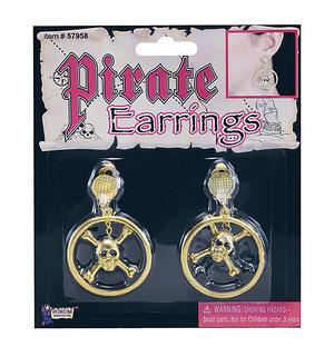 Metal Pirate Earrings With Skull Buccaneer Pirate Halloween Fancy Dress