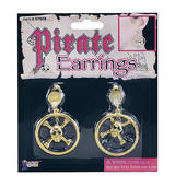 Metal Pirate Earrings With Skull Buccaneer Pirate Halloween Fancy Dress